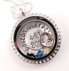 Save 15% with code PINTEREST Boston Marathon Themed Floating Glass Locket Personalized Hand Stamped Necklace gift