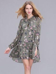 Случайные женщины тонкий длинный рукав шифона платье печати