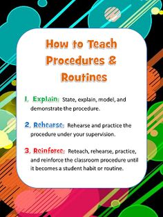 Classroom procedures and routines. This is a great way to know how to teach students classroom procedures and routines that they are expected to know. Classroom Routines And Procedures, Teaching Procedures, Classroom Rules, Teaching Strategies, School Classroom, Teaching Tips, Classroom Organization, Instructional Strategies, Classroom Ideas