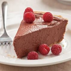 This chocolate raspberry pie gets an amazing smooth, rich, creamy texture from pureed tofu.  @eatingwell