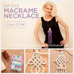 DIY Dip Dye Macrame Ketting deur Trinkets in Bloei Macrame Colar, Macrame Necklace, Macrame Knots, Macrame Jewelry, Diy Necklace, Wire Earrings, Wire Jewelry, Jewlery, Necklaces