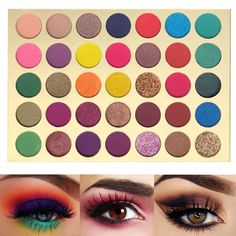 35 Bright Colorful Matte Eyeshadow Palette Shimmery Silky Powder Long Lasting Pigments Pressed Glitter Eye Shadow Palette Makeup