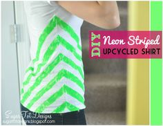 sugartotdesigns: DIY Neon Striped Shirt