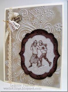 LeAnne Pugliese:  Wee Inklings - Merry Monday 119 - 7/28/14  (Winter Post (SU ret.) Embossed Snowflake (Darice EF)P Vintage Christmas Card)