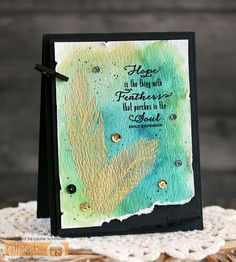 Hope by Laurie Schmidlin - created using the Fine Feathers stamp set (illustrated by Claire Brennan) from Gina K Designs Feather Cards, Watercolor Cards, Masculine Cards, My Stamp, Just Giving, Cardmaking, Dream Catcher, Give It To Me, Greeting Cards