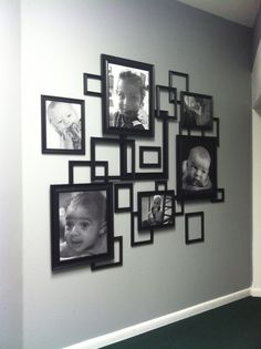 Photo collage made from frames from Walmart! - Home Dekor Decor, Home Diy, Frame Wall Decor, Wall Decor, Diy Decor, Frames On Wall, Beautiful Decor, Collage Frames, Home Decor