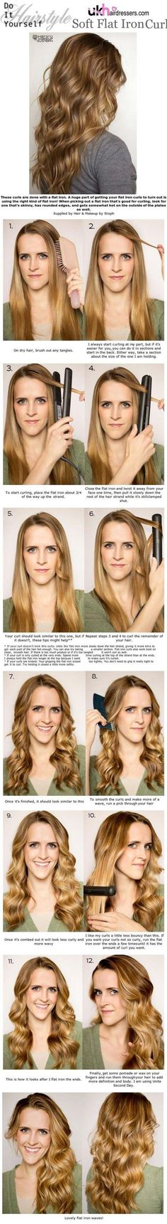 Cool Hairstyles You Can Do With Your Flat Iron - Soft Flat Iron Curls - Easy Step By Step Tutorials And Hair Tips Every Girl Should Know To Get The Style And Look They Want Using A Flat Iron. Videos and Image How To's That Provide Simple Tips and Tricks F (Should Try Beauty Products)