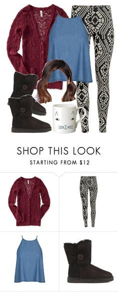 """Aria Montgomery inspired outfit with UGG boots"" by liarsstyle ❤ liked on Polyvore featuring Aéropostale, H&M, UGG, Donna Wilson, casual, comfortable and WF"