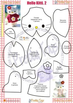 Discover thousands of images about Hello Kitty. Cat Crafts, Sewing Crafts, Sewing Projects, Sewing Dolls, Felt Diy, Stuffed Animal Patterns, Felt Dolls, Sewing For Kids, Handmade Toys
