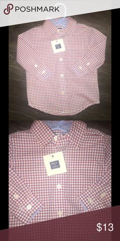 Janie & Jack Plaid Button down shirt Janie & Jack Plaid Button down shirt. 6-12 months. Made in Indonesia. 100% Cotton. BRAND NEW!!! Never Worn!!! Janie and Jack Shirts & Tops Button Down Shirts