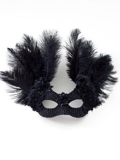Unique Black Raven Crystal Masquerade Mask - Masque B