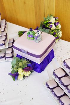 Purple butterfly zoo cake wedding
