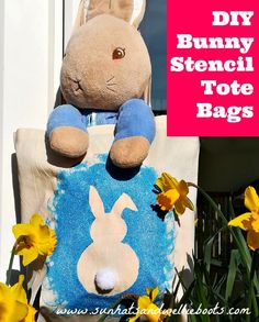 Stencil your own Bunny Tote Bag - upcycling craft for kids