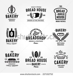 Large set of bakery and bread shop logos, labels, badges and design elements (bread, loaf, wheat ear, cake icons)