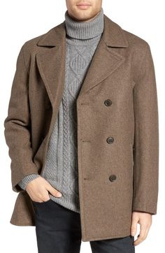 MICHAEL KORS Wool Blend Double Breasted Peacoat. #michaelkors #cloth #
