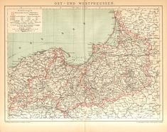 1896 Antique Map Showing Provinces of the Kingdom of Prussia