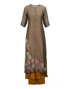 Stone Gray Kurta Palazzo Set with Floral Embroidery