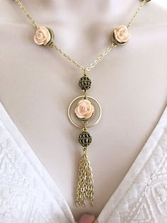 Flower Tassel Necklace and Earring set, Brass Necklace set, Brass Jewelry, Mother's Day Necklace set, Tassel Necklace, Gift for her