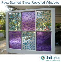 DIY Tutorial - This is a guide about faux stained glass windows. You can easily create beautiful stained glass looking windows using recycled windows and adding paint or other embellishments. Many different techniques are shown here.