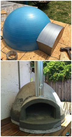 DIY Exercise Ball Wood fired Pizza Oven Instructions - DIY Outdoor Pizza Oven Ideas Projects #CoolWoodProjectsDiy