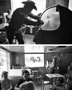 GIANT (1955) - James Dean checks out the jukebox in a Marfa cafe during on location filming near Marfa, Texas.