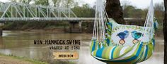 Win this single seat hammock swing is perfect for enjoying those long summer nights! Made from canvas, the swing comes with two pillows for extra comfort. The swing hangs by a single hook at the top and can either be hung on a hook on a porch or outside on a sturdy tree limb. Comes with a bag for easy transport and storage.