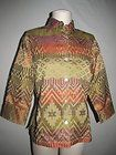 CHICO'S Sz 0 S M Earthy Southwest Career Blouse Shirt Cotton Silk Blend Burnout