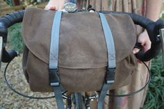 Brown Waxed Canvas Bicycle Handle Bar and by anhaicabagwork