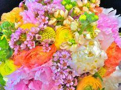 Colorful brides bouquet by Lisa Foster Floral Design