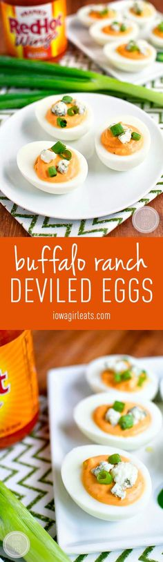 Buffalo Ranch Deviled Eggs - Truly devilish-tasting thanks to spicy buffalo wing sauce and cooling ranch dressing in the mix!