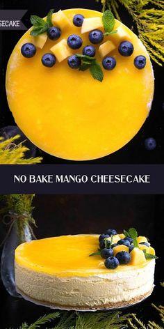 Mango Dessert Recipes, Köstliche Desserts, Raw Vegan Desserts, Indian Dessert Recipes, Mango Cheesecake, Cheesecake Recipes, Fun Baking Recipes, Sweet Recipes, Bolo Fresco