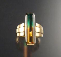 Bi-color tourmaline and 14k gold. Beautiful!