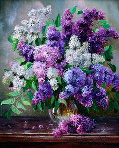 artist Ivanov Vladimir, Lilacs on the table
