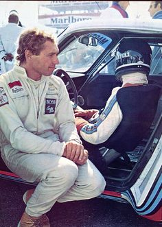 🏁 Jochen Mass sits by Jacky Ickx right before the 6 hours of Dijon-Prenois in They would win the race together in the Martini Porsche Photographer Unknown Sport F1, Sport Cars, Race Cars, Porsche 935, Le Mans, Dijon Prenois, Formula 1, Gilles Villeneuve, Martini Racing