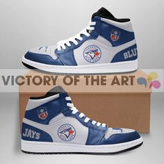 Simple Logo Toronto Blue Jays Jordan Shoes Detailed Images Printing - Not Laser Engraving High quality rubber sole for traction and exceptional durability. Jay Shoes, Toronto Blue Jays Logo, Jordan Shoes, Real Leather, Converse Chuck Taylor, High Top Sneakers, Jordans, Collections, Unisex