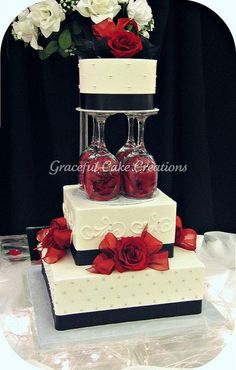 Elegant White, Black and Red Wedding Cake by Graceful Cake Creations, via Flickr