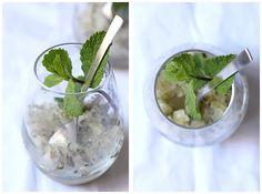 Mojito en granité: 25cl de rhum – 20cl d'eau – 4 cs de sucre roux Prélever le zeste de 2 citrons verts. Les mettre dans un saladier. Presser les citrons pour en extraire le jus et l'ajouter aux zestes dans le saladier. Hacher très finement les feuilles de menthe. Verser dans le saladier. Ajouter le rhum et l'eau, ainsi que le citron dans le saladier. Bien mélanger. Verser dans un grand plat peu profond et mettre au congélateur pour 4 heures minimum. Gratter toutes les heures avec une…