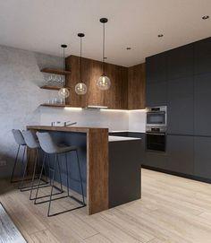Trendy home kitchen interior design 56 ideas Home Decor Kitchen, Rustic Kitchen, New Kitchen, Kitchen Small, Kitchen Black, Modern Kitchen Design, Interior Design Kitchen, Modern Design, Modern Bar