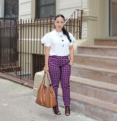 Combine A Few Shades Of Winey Colors And Create A Violet Punch Outfit Perfect For An Autumn Afternoon! Perhaps Patterned Pants Paired With An Off-White Puffy Sleeved Blouse Could Make A Lovely Combo.