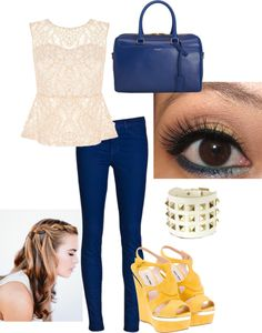 """blue and orange peplum outfit"" by equestriangirl123 ❤ liked on Polyvore"