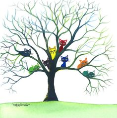Eau Claire Stray Cats - Lori Alexander's colored kitties:) #Lori Alexander #cats #tree