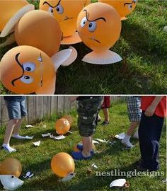 Super Mario Party- You have to look at these pictures. Awesome ideas. Love the Balloon Goomba Game.