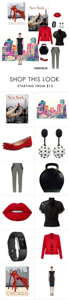 """""""Wearing to Work"""" by hbgarduno ❤ liked on Polyvore featuring Any Old Iron, Oscar de la Renta, Balenciaga, Chanel, Lime Crime, RED Valentino, Fitbit and City Chic"""