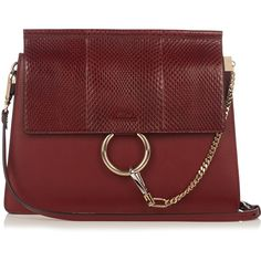 Chloé Faye snakeskin and leather shoulder bag (€1.900) ❤ liked on Polyvore featuring bags, handbags, shoulder bags, burgundy, chain shoulder bag, burgundy leather purse, chloe handbags, chloe purses and red purse
