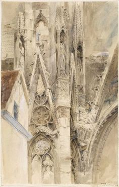 yama-bato: John Ruskin Entrance to the South Transept of Rouen Cathedral 1854 link Gothic Architecture, Architecture Details, Gmunden Austria, John Ruskin, Illustration Art, Illustrations, Rouen, Arts And Crafts Movement, Watercolor Art