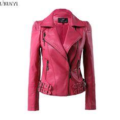 Primavera 2016 de la chaqueta de cuero de Las Mujeres Abrigo de cuero Del Cerrojo de la Manera de Corea marca Tamaño Grande Shorts de Cuero de Imitación Chaquetas Otoño 2XL 3XL 4XL
