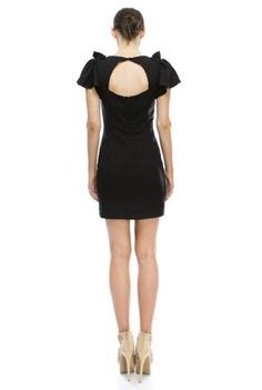 'Head and Shoulders Above' Dress - A pretty little mini dress to wear this holiday season with it's form fitting cut and flutter cap sleeve. The black dress has a v-neckline and cut-out detail in the back. Wear this number with jeweled high heels and your hair up to show off the cute shoulder detail and sexy back details. We know when you wear this dress, you'll feel head and shoulders above everyone else even if you're only 5 feet tall! Available in Black.
