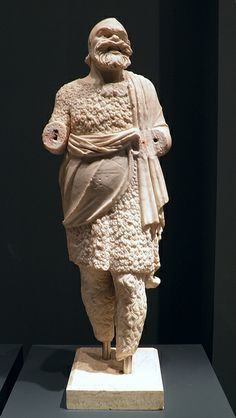 Statue of an actor in the guide of Father Sinelus (Papposilenos), the oldest member of the band of satyrs who raised Dionysos, found in Roman villa at Torre Astura, 2nd century AD, Palazzo Massimo alle Terme, Rome