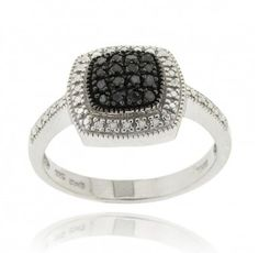 Sterling Silver 1/5ct TDW Black Diamond Square Ring