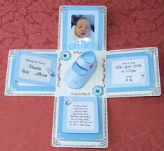 svg die baptism cards | Baby Exploding Box